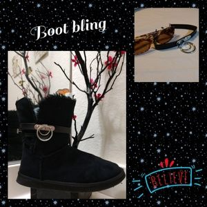 Accessories - Black leather boot bling with double circles